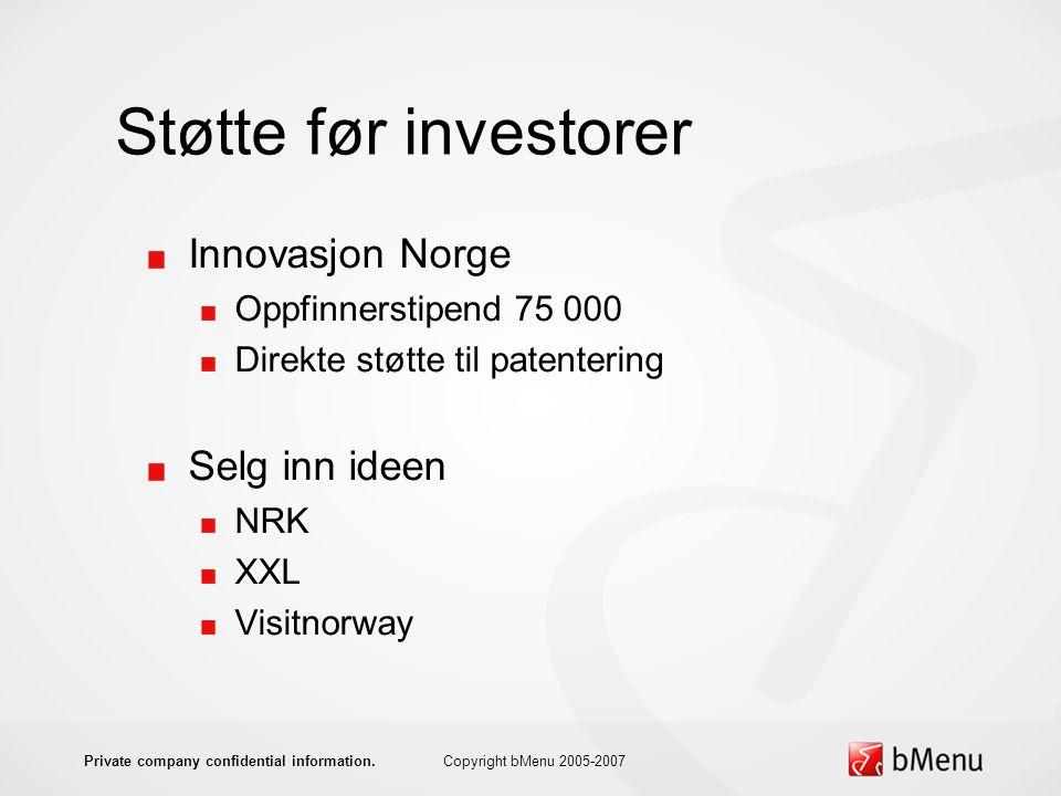 Støtte før investorer Innovasjon Norge Oppfinnerstipend 75 000 Direkte støtte til patentering Selg inn ideen NRK XXL Visitnorway Copyright bMenu 2005-2007Private company confidential information.