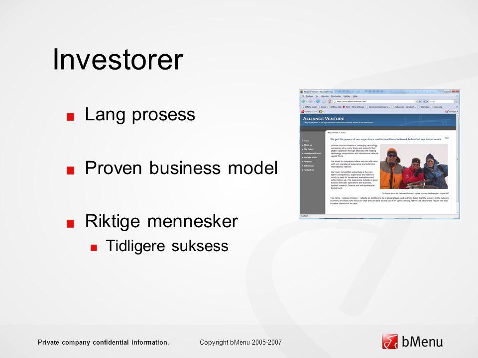 Investorer Lang prosess Proven business model Riktige mennesker Tidligere suksess Copyright bMenu 2005-2007Private company confidential information.
