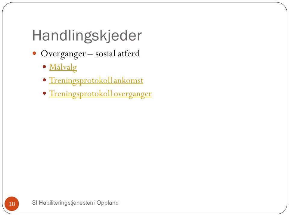 Handlingskjeder SI Habiliteringstjenesten i Oppland 18 Overganger – sosial atferd Målvalg Treningsprotokoll ankomst Treningsprotokoll overganger