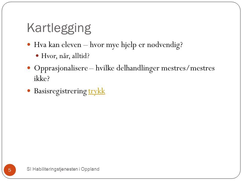 Kartlegging SI Habiliteringstjenesten i Oppland 5 Hva kan eleven – hvor mye hjelp er nødvendig.