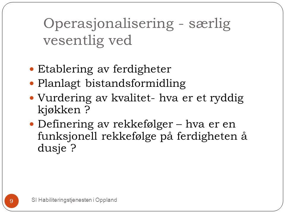 Operasjonalisering - særlig vesentlig ved SI Habiliteringstjenesten i Oppland 9 Etablering av ferdigheter Planlagt bistandsformidling Vurdering av kvalitet- hva er et ryddig kjøkken .