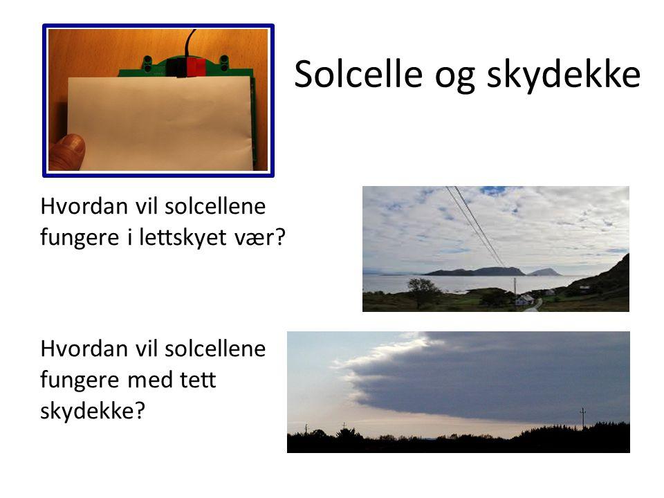 Solcelle og skydekke Hvordan vil solcellene fungere i lettskyet vær? Hvordan vil solcellene fungere med tett skydekke?