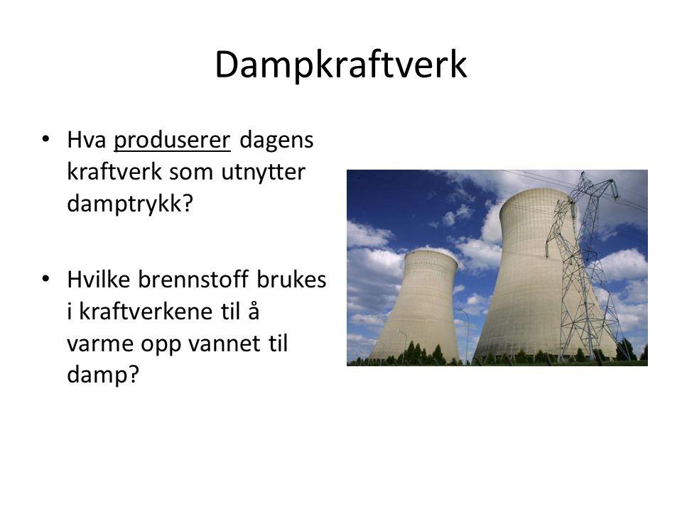 Dampkraftverk Hva produserer dagens kraftverk som utnytter damptrykk? Hvilke brennstoff brukes i kraftverkene til å varme opp vannet til damp?