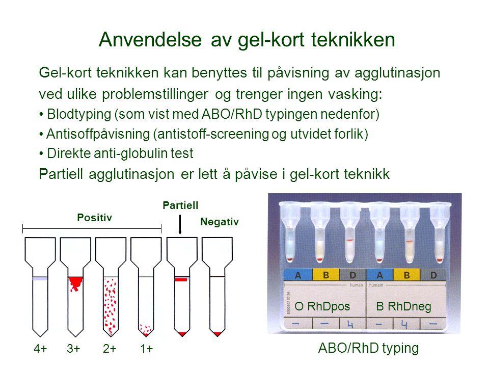 O RhDpos B RhDneg Partiell Positiv Negativ Anvendelse av gel-kort teknikken Gel-kort teknikken kan benyttes til påvisning av agglutinasjon ved ulike problemstillinger og trenger ingen vasking: Blodtyping (som vist med ABO/RhD typingen nedenfor) Antisoffpåvisning (antistoff-screening og utvidet forlik) Direkte anti-globulin test Partiell agglutinasjon er lett å påvise i gel-kort teknikk 4+2+1+3+ ABO/RhD typing