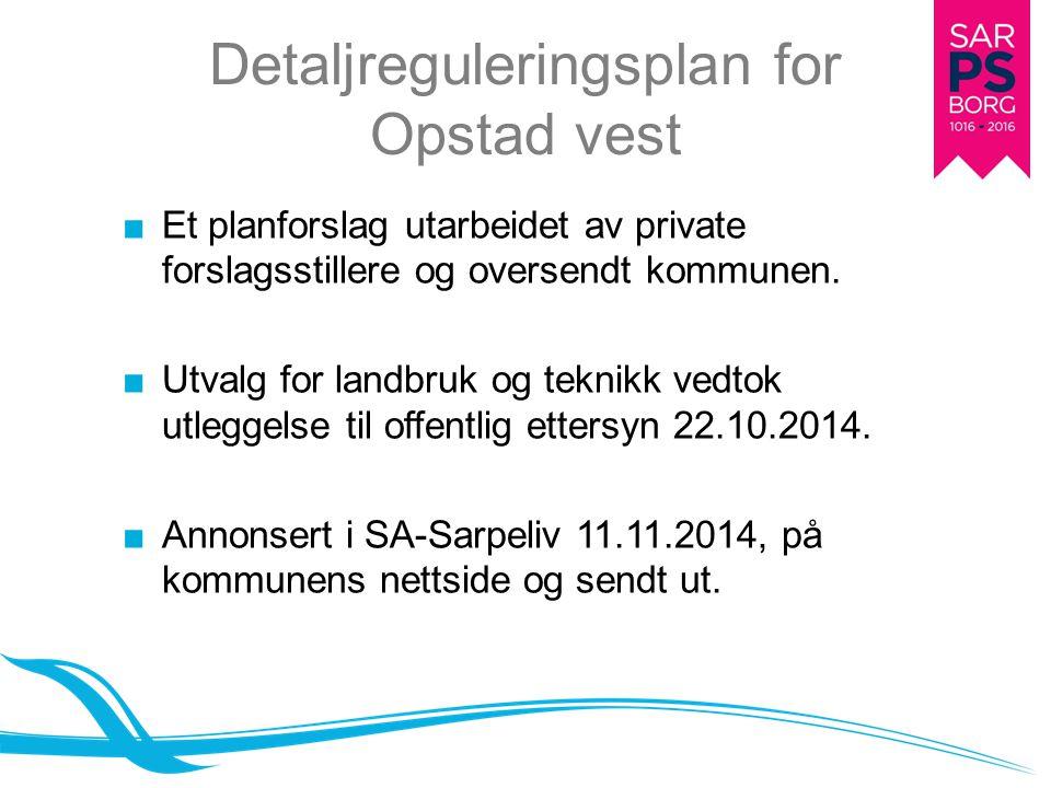 Detaljreguleringsplan for Opstad vest ■Et planforslag utarbeidet av private forslagsstillere og oversendt kommunen. ■Utvalg for landbruk og teknikk ve