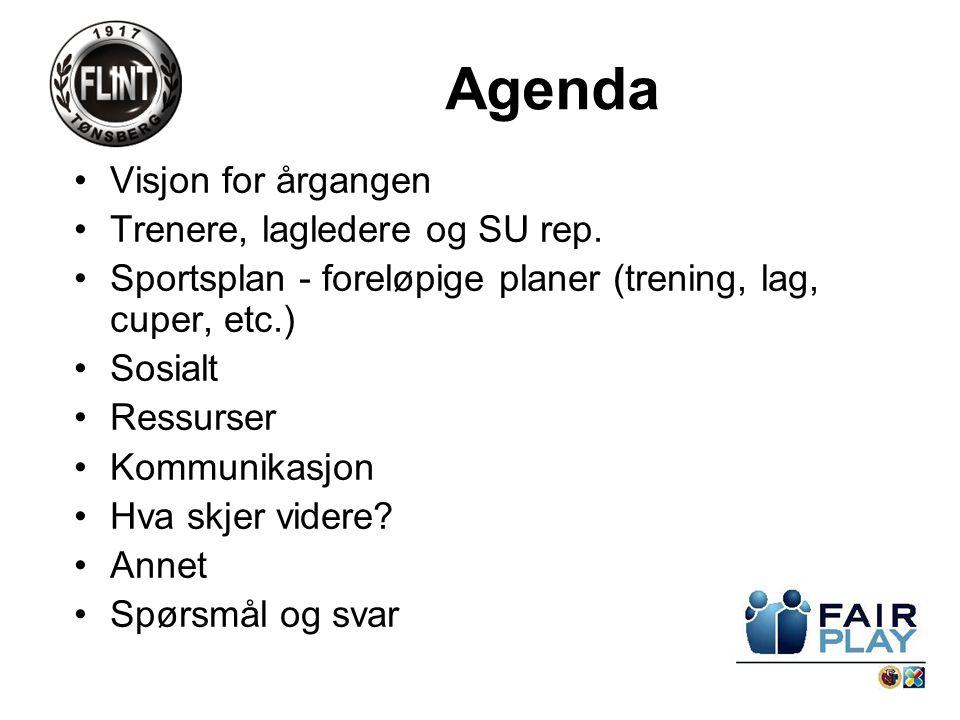 Agenda Visjon for årgangen Trenere, lagledere og SU rep.
