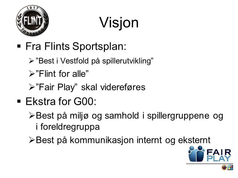 Visjon  Fra Flints Sportsplan:  Best i Vestfold på spillerutvikling  Flint for alle  Fair Play skal videreføres  Ekstra for G00:  Best på miljø og samhold i spillergruppene og i foreldregruppa  Best på kommunikasjon internt og eksternt