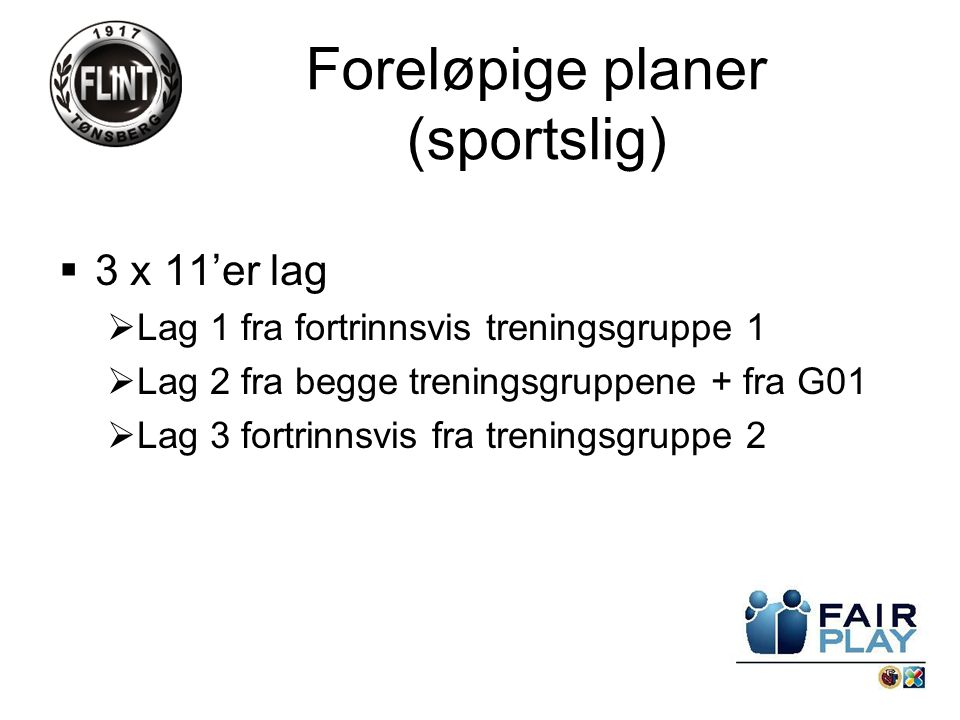 3 x 11'er lag  Lag 1 fra fortrinnsvis treningsgruppe 1  Lag 2 fra begge treningsgruppene + fra G01  Lag 3 fortrinnsvis fra treningsgruppe 2 Foreløpige planer (sportslig)