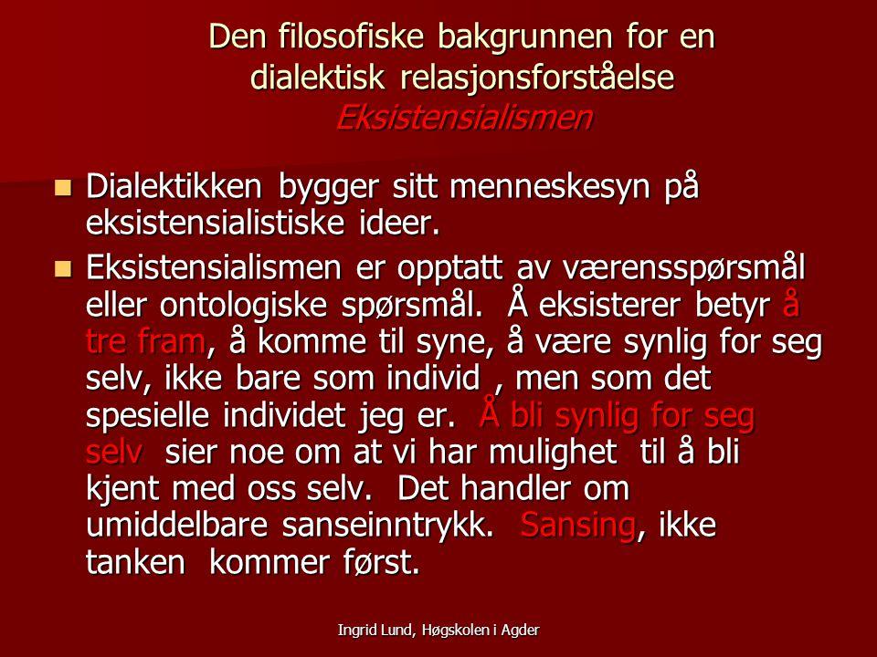 Ingrid Lund, Høgskolen i Agder Den filosofiske bakgrunnen for en dialektisk relasjonsforståelse Eksistensialismen Dialektikken bygger sitt menneskesyn