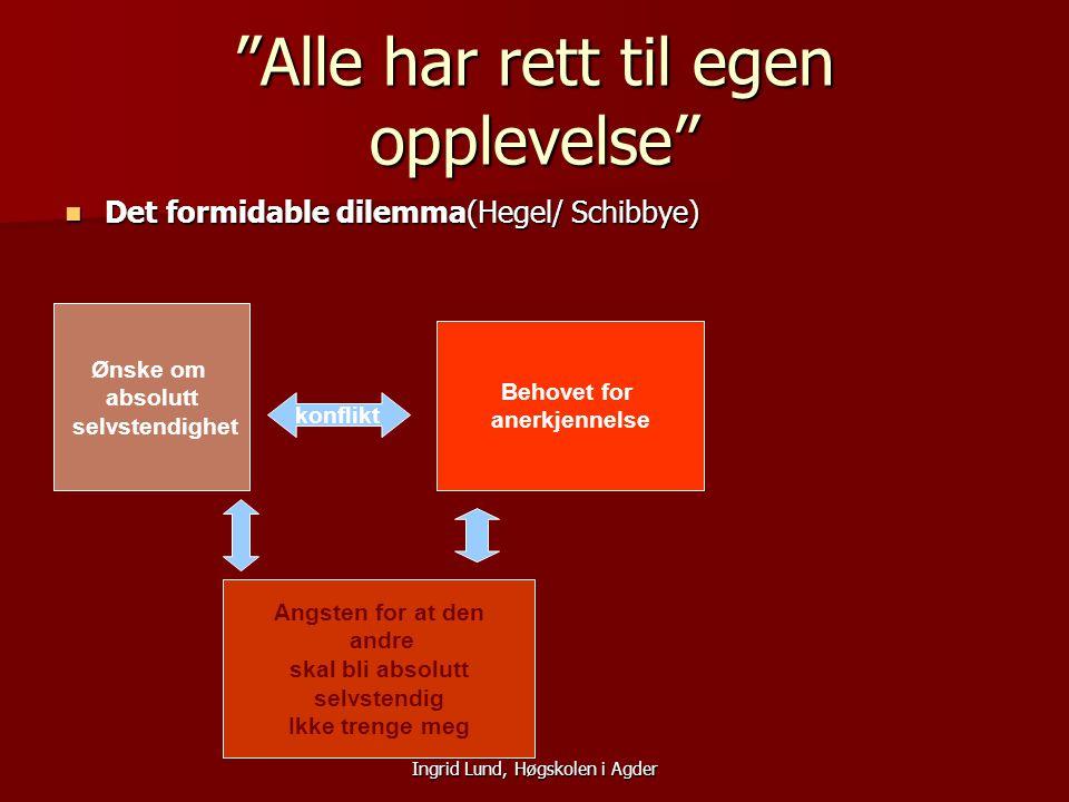 """Ingrid Lund, Høgskolen i Agder """"Alle har rett til egen opplevelse"""" Det formidable dilemma(Hegel/ Schibbye) Det formidable dilemma(Hegel/ Schibbye) Øns"""