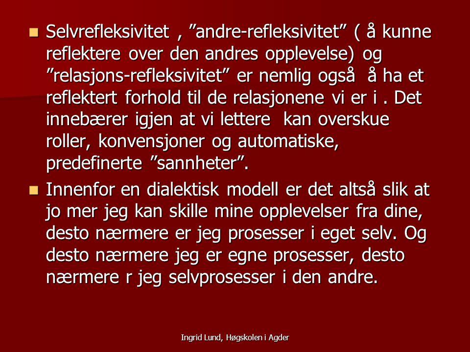 """Ingrid Lund, Høgskolen i Agder Selvrefleksivitet, """"andre-refleksivitet"""" ( å kunne reflektere over den andres opplevelse) og """"relasjons-refleksivitet"""""""