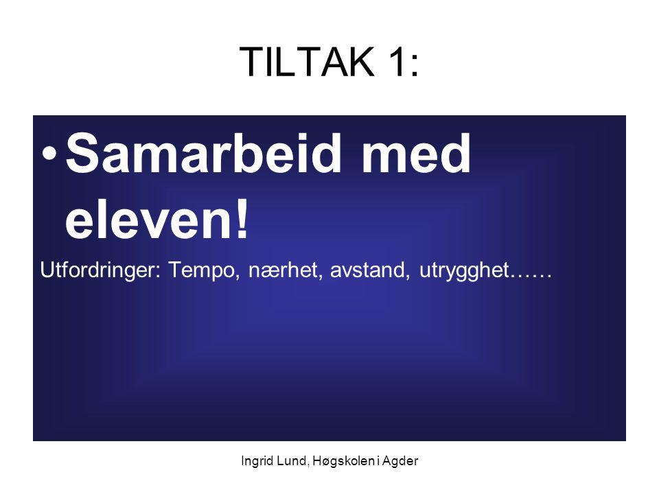 Ingrid Lund, Høgskolen i Agder TILTAK 1: Samarbeid med eleven! Utfordringer: Tempo, nærhet, avstand, utrygghet……