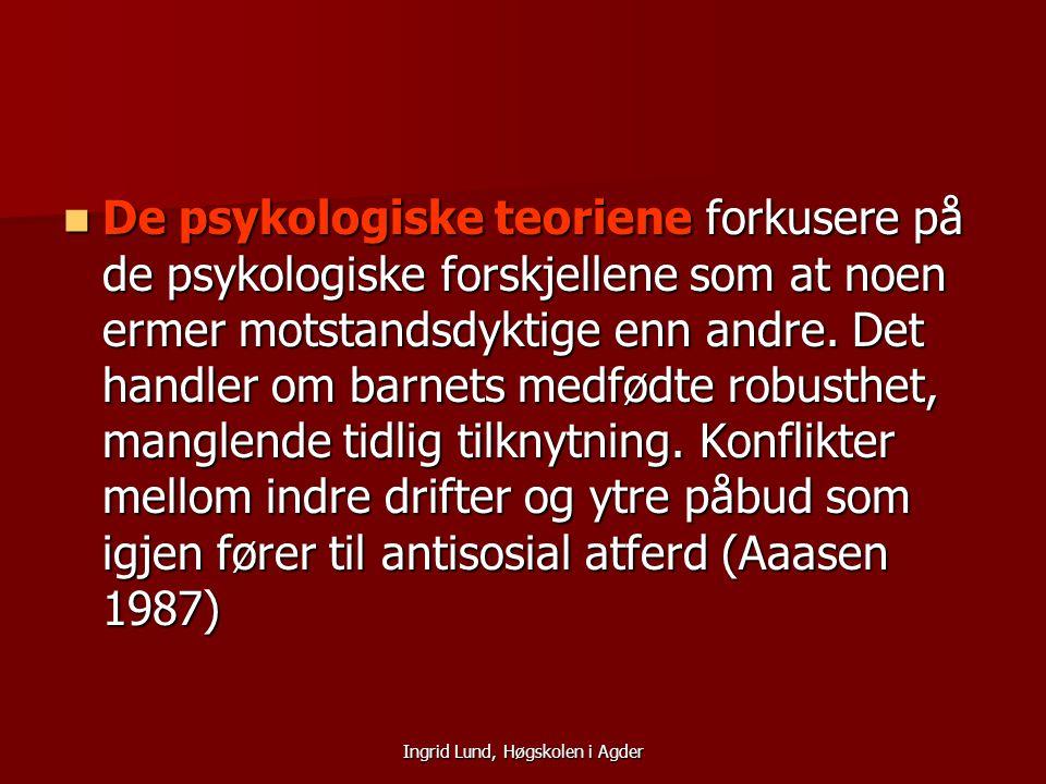Ingrid Lund, Høgskolen i Agder De sosiologiske forklaringsmodellene legger vekt på oppdragerstil der autoritær og ettergivende oppdragerstil har stor konsekvens for utvikling av innagerende atferd (Zimbaro 1981) De sosiologiske forklaringsmodellene legger vekt på oppdragerstil der autoritær og ettergivende oppdragerstil har stor konsekvens for utvikling av innagerende atferd (Zimbaro 1981) Psykososiale forhold kan også virke inn på barns atferd.