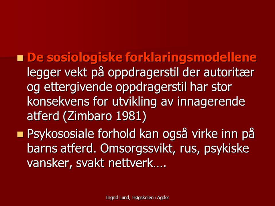 Ingrid Lund, Høgskolen i Agder De sosiologiske forklaringsmodellene legger vekt på oppdragerstil der autoritær og ettergivende oppdragerstil har stor