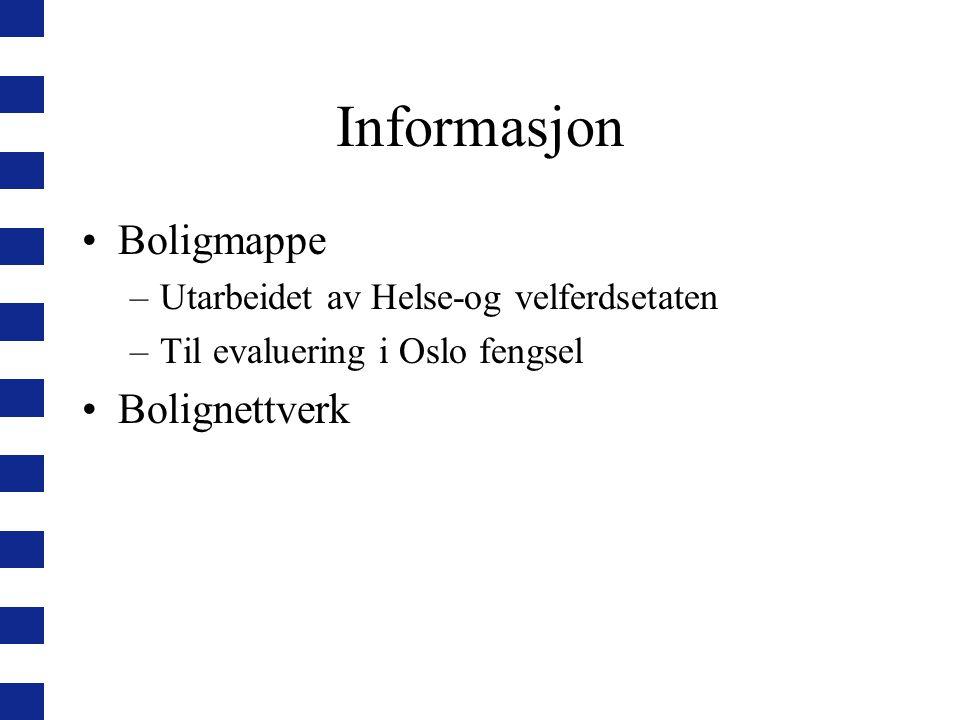 Informasjon Boligmappe –Utarbeidet av Helse-og velferdsetaten –Til evaluering i Oslo fengsel Bolignettverk
