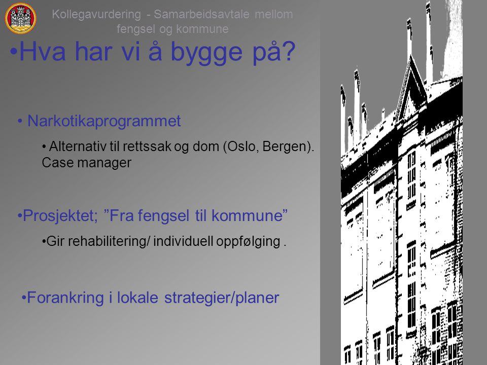 3 Kollegavurdering - Samarbeidsavtale mellom fengsel og kommune Narkotikaprogrammet Alternativ til rettssak og dom (Oslo, Bergen).