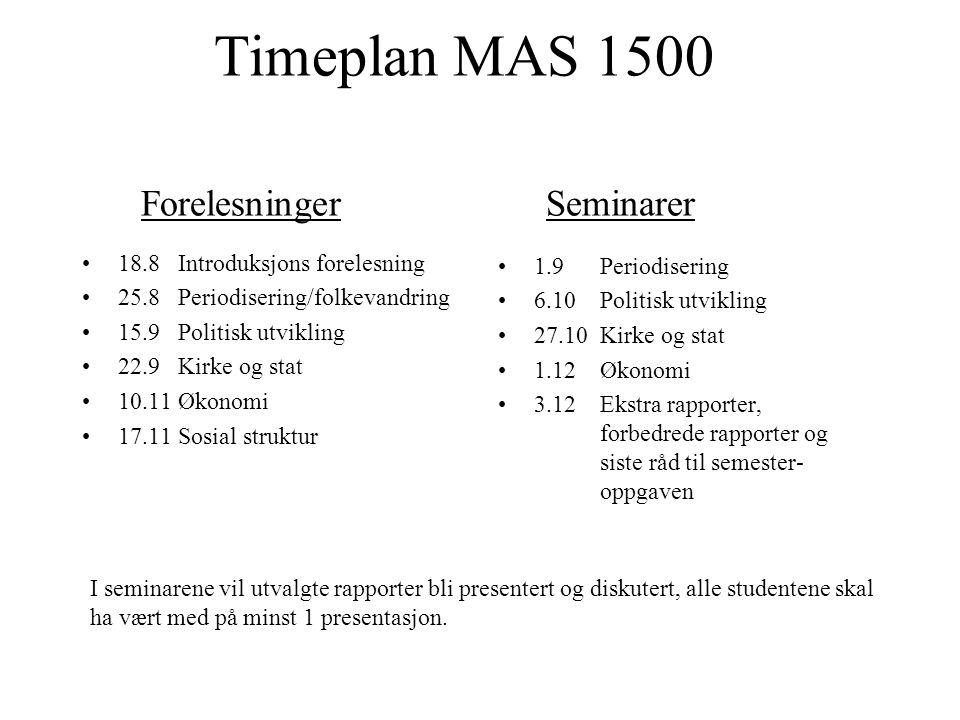 Timeplan MAS 1500 Forelesninger Seminarer 18.8Introduksjons forelesning 25.8Periodisering/folkevandring 15.9Politisk utvikling 22.9Kirke og stat 10.11