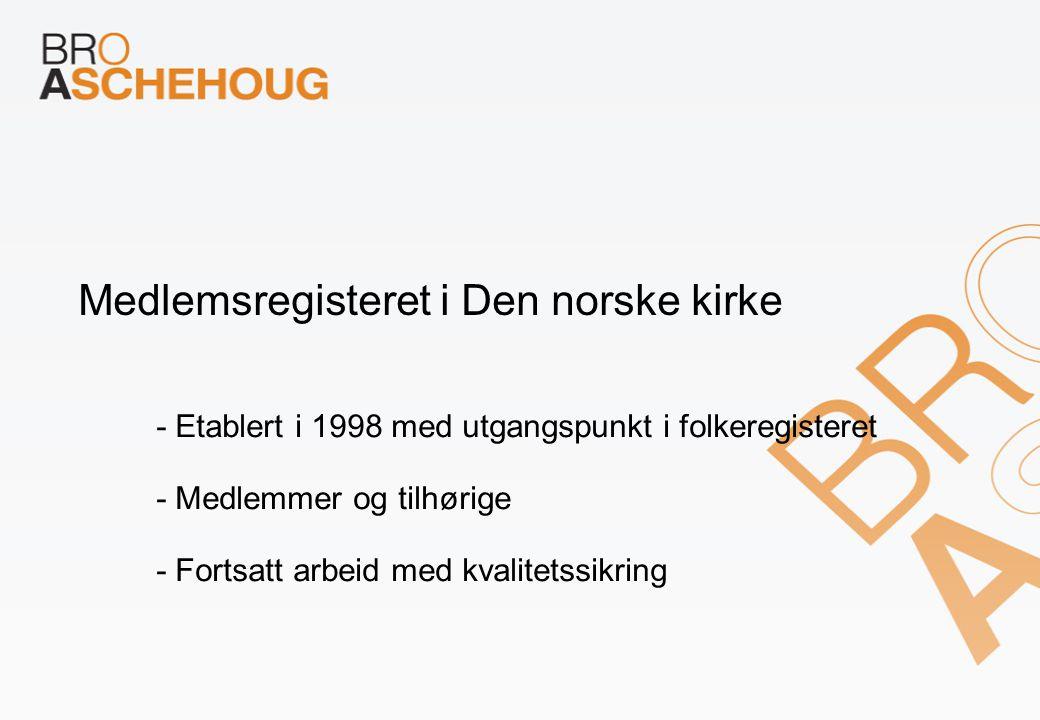 Medlemsregisteret i Den norske kirke - Etablert i 1998 med utgangspunkt i folkeregisteret - Medlemmer og tilhørige - Fortsatt arbeid med kvalitetssikr
