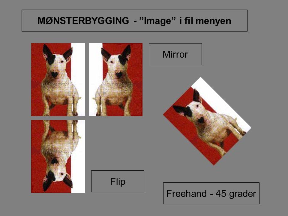 "MØNSTERBYGGING - ""Image"" i fil menyen Mirror Flip Freehand - 45 grader"