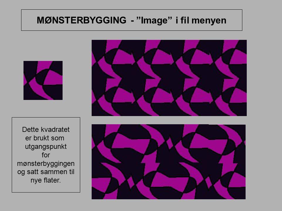 "MØNSTERBYGGING - ""Image"" i fil menyen Dette kvadratet er brukt som utgangspunkt for mønsterbyggingen og satt sammen til nye flater."