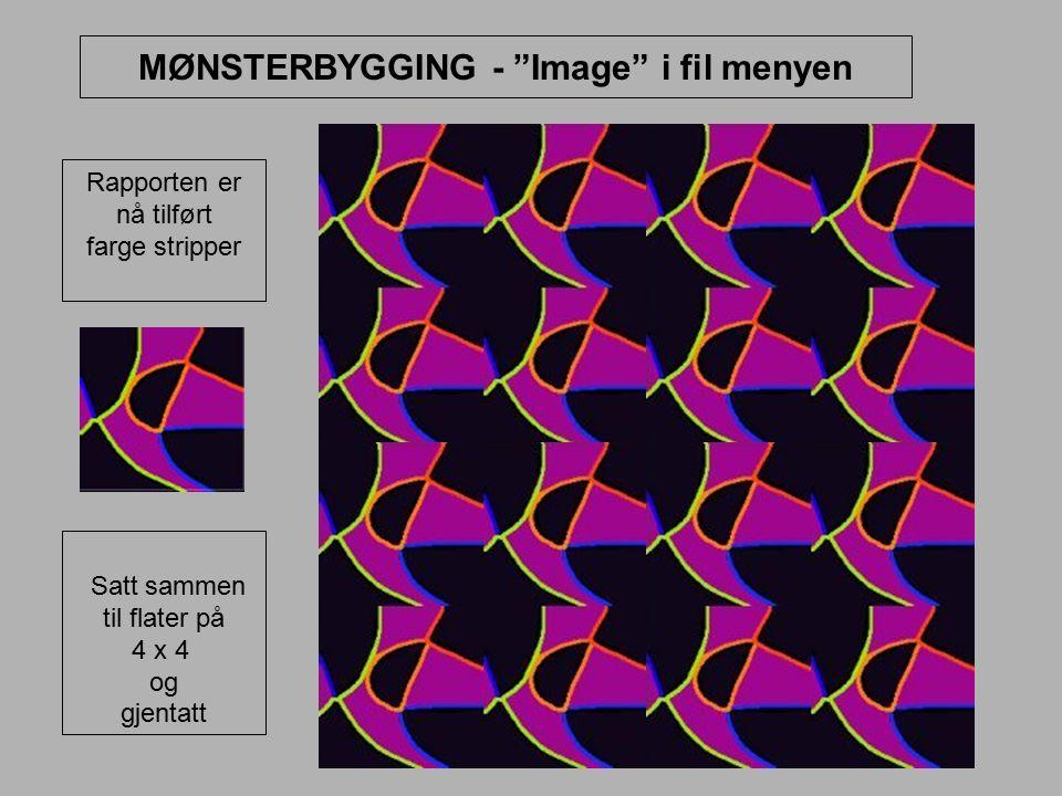 """MØNSTERBYGGING - """"Image"""" i fil menyen Rapporten er nå tilført farge stripper Satt sammen til flater på 4 x 4 og gjentatt"""