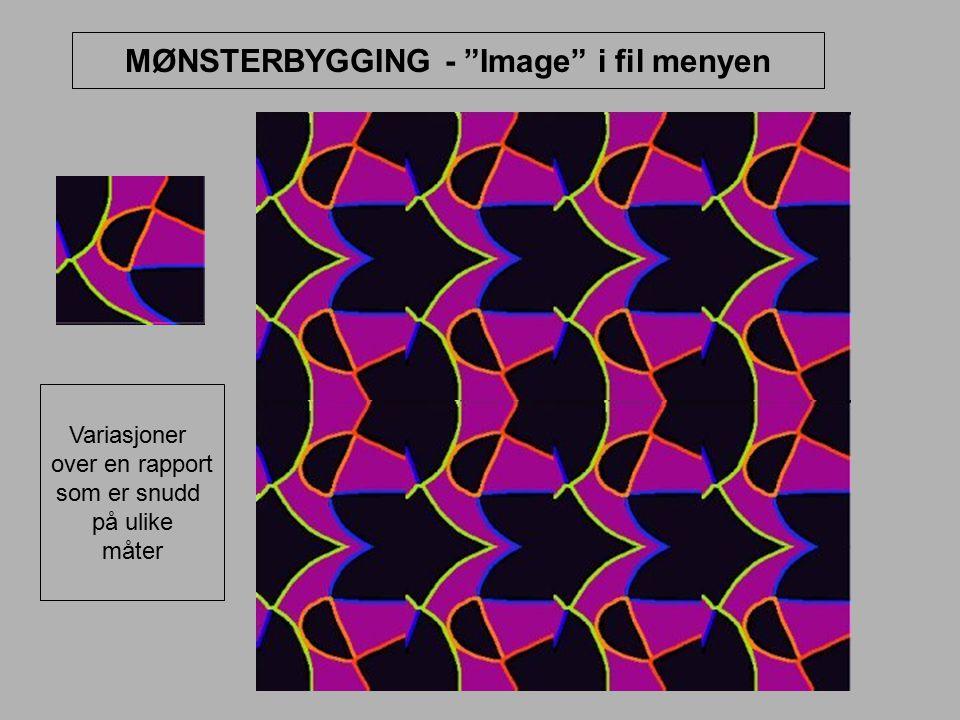 """MØNSTERBYGGING - """"Image"""" i fil menyen Variasjoner over en rapport som er snudd på ulike måter"""