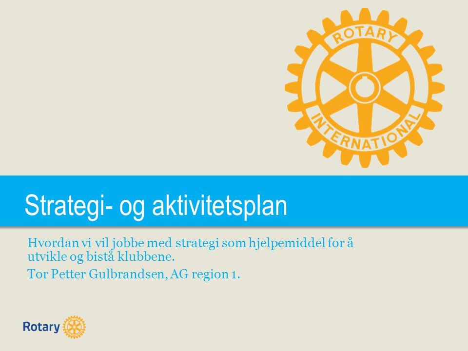 Strategi- og aktivitetsplan Hvordan vi vil jobbe med strategi som hjelpemiddel for å utvikle og bistå klubbene. Tor Petter Gulbrandsen, AG region 1.