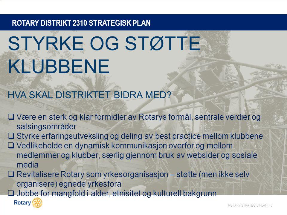 ROTARY STRATEGIC PLAN | 8 ROTARY DISTRIKT 2310 STRATEGISK PLAN STYRKE OG STØTTE KLUBBENE HVA SKAL DISTRIKTET BIDRA MED.