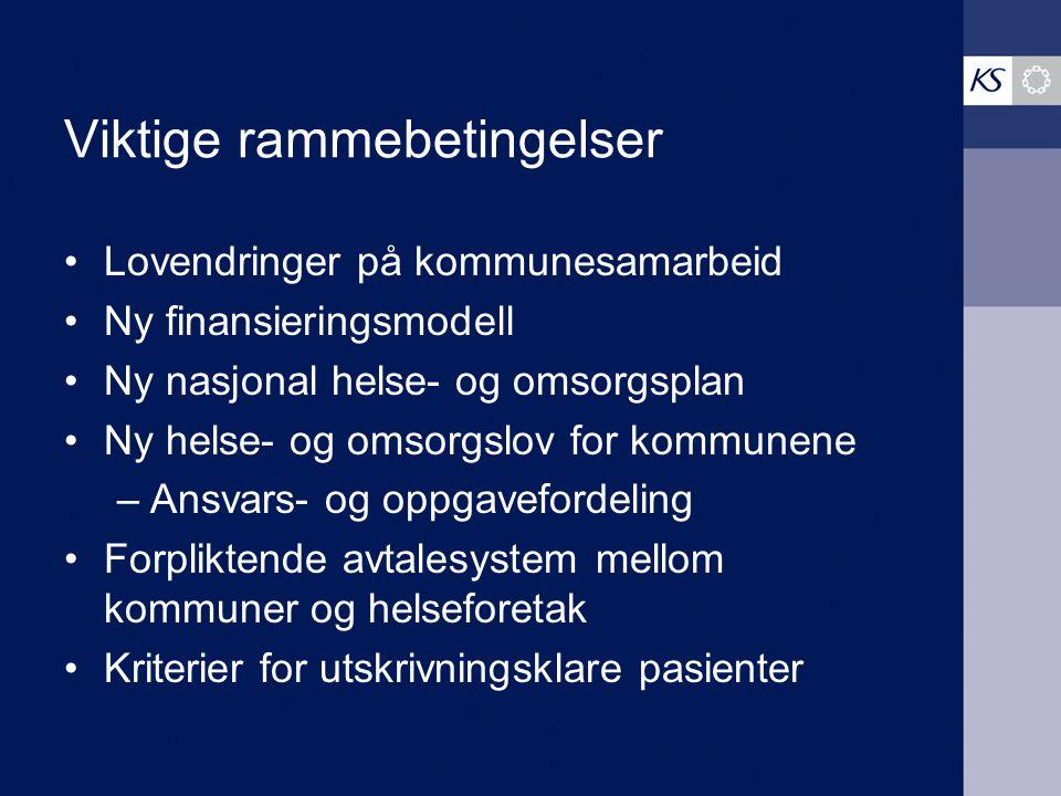Viktige rammebetingelser Lovendringer på kommunesamarbeid Ny finansieringsmodell Ny nasjonal helse- og omsorgsplan Ny helse- og omsorgslov for kommune