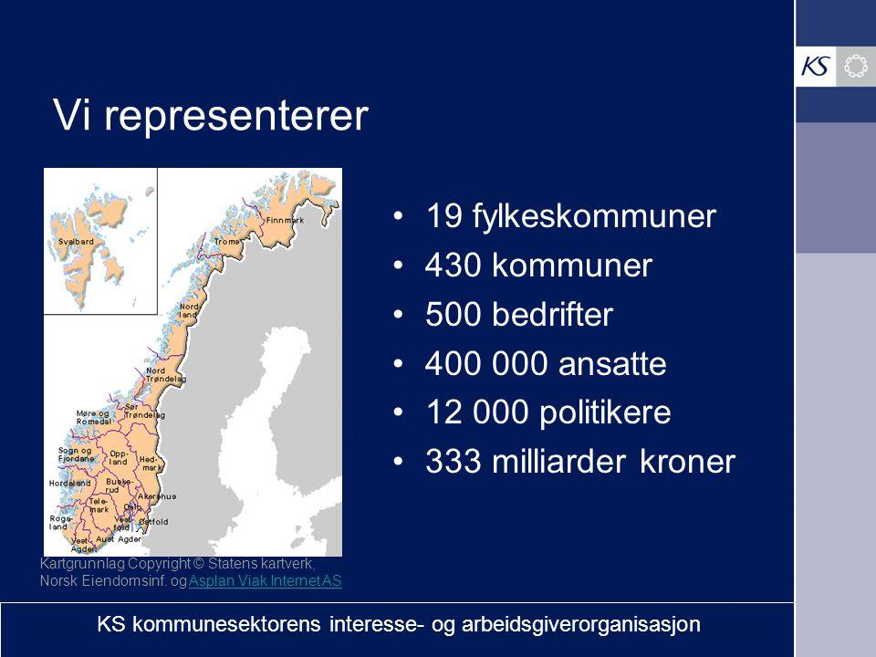 Vi representerer 19 fylkeskommuner 430 kommuner 500 bedrifter 400 000 ansatte 12 000 politikere 333 milliarder kroner Kartgrunnlag Copyright © Statens