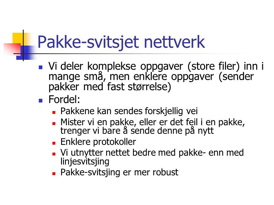 Pakke-svitsjet nettverk Vi deler komplekse oppgaver (store filer) inn i mange små, men enklere oppgaver (sender pakker med fast størrelse) Fordel: Pak