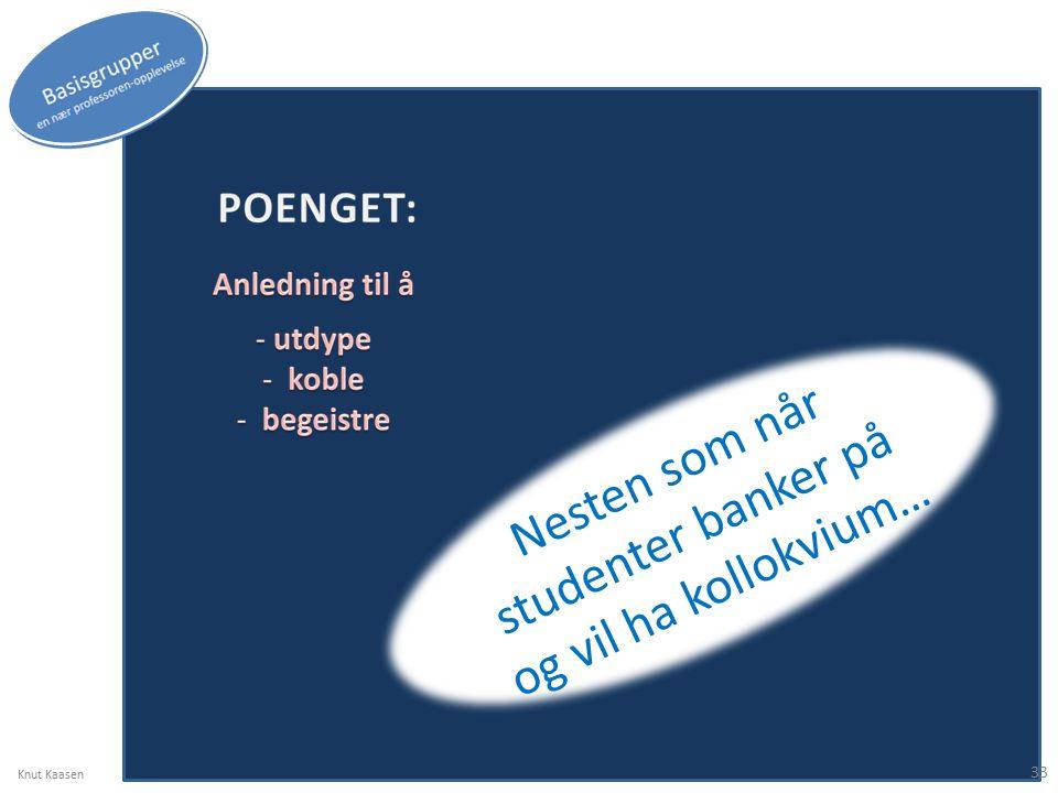 Nesten som når studenter banker på og vil ha kollokvium… Knut Kaasen 33