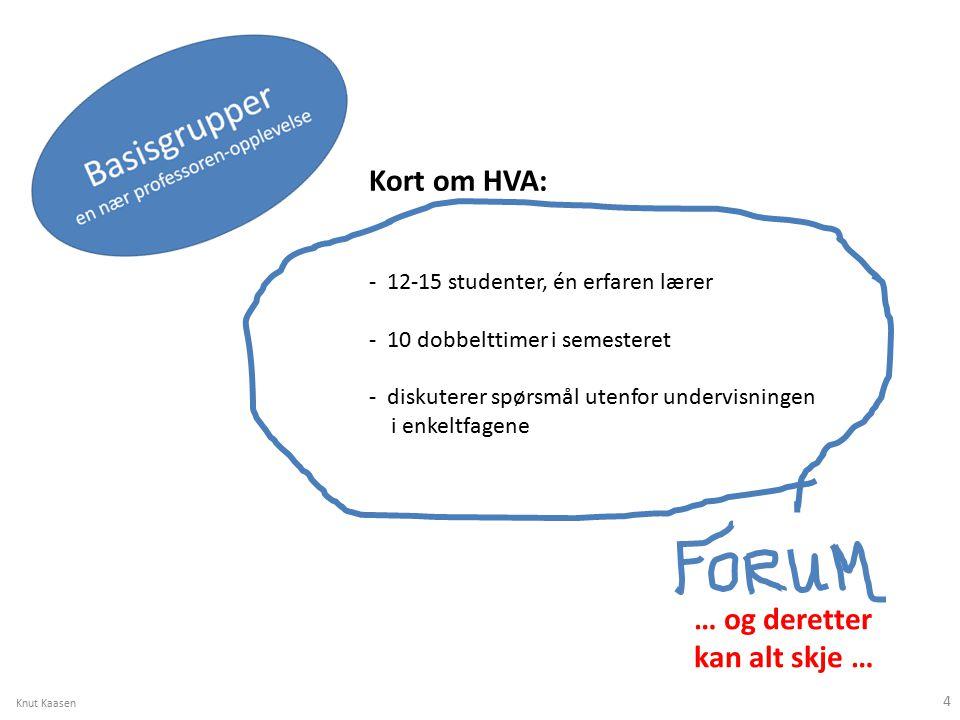 Kort om HVA: - 12-15 studenter, én erfaren lærer - 10 dobbelttimer i semesteret - diskuterer spørsmål utenfor undervisningen i enkeltfagene … og deretter kan alt skje … Knut Kaasen 4