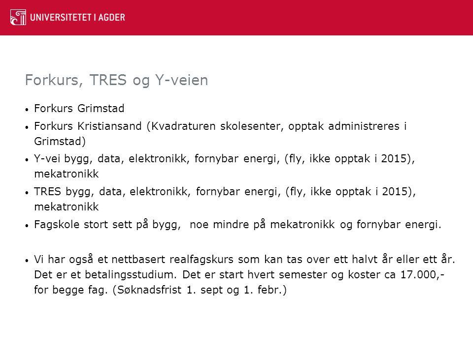 Forkurs Grimstad Forkurs Kristiansand (Kvadraturen skolesenter, opptak administreres i Grimstad) Y-vei bygg, data, elektronikk, fornybar energi, (fly,