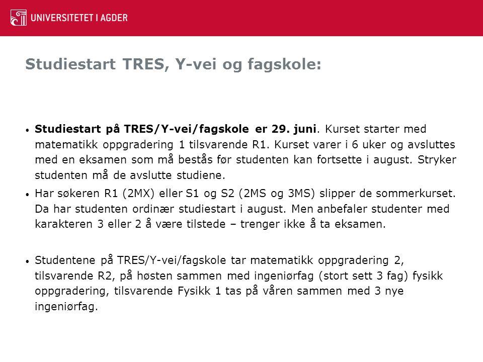 Studiestart TRES, Y-vei og fagskole: Studiestart på TRES/Y-vei/fagskole er 29. juni. Kurset starter med matematikk oppgradering 1 tilsvarende R1. Kurs