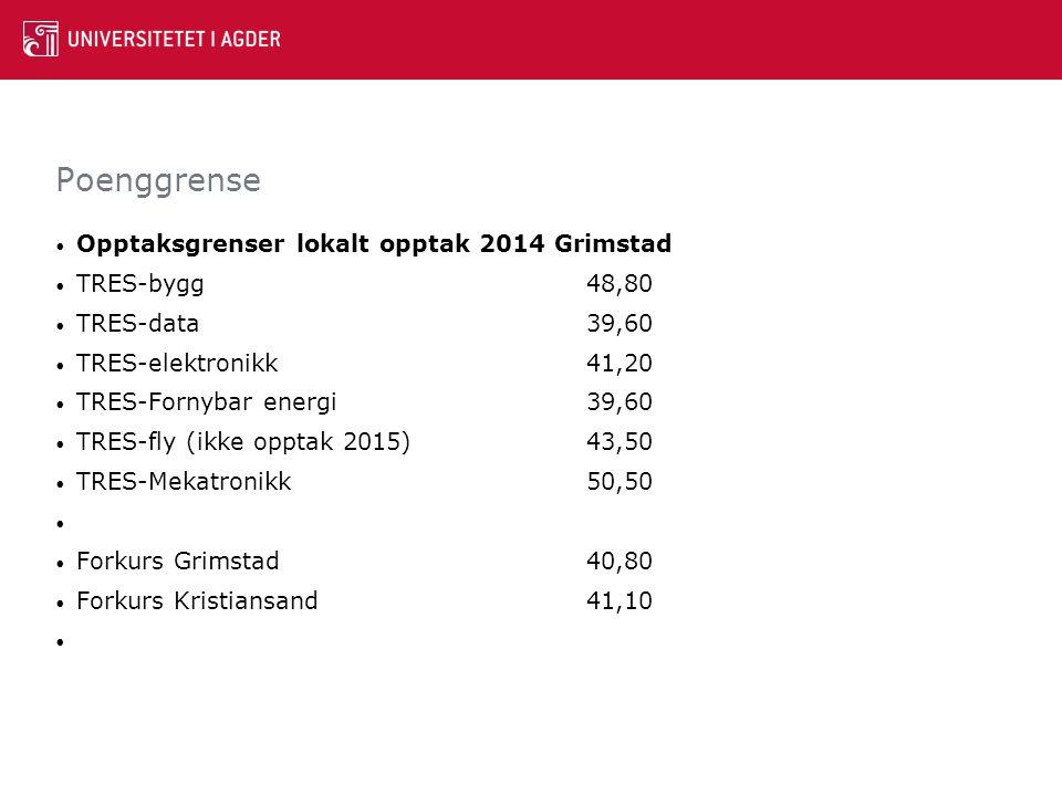 Poenggrense Opptaksgrenser lokalt opptak 2014 Grimstad TRES-bygg48,80 TRES-data39,60 TRES-elektronikk41,20 TRES-Fornybar energi39,60 TRES-fly (ikke op