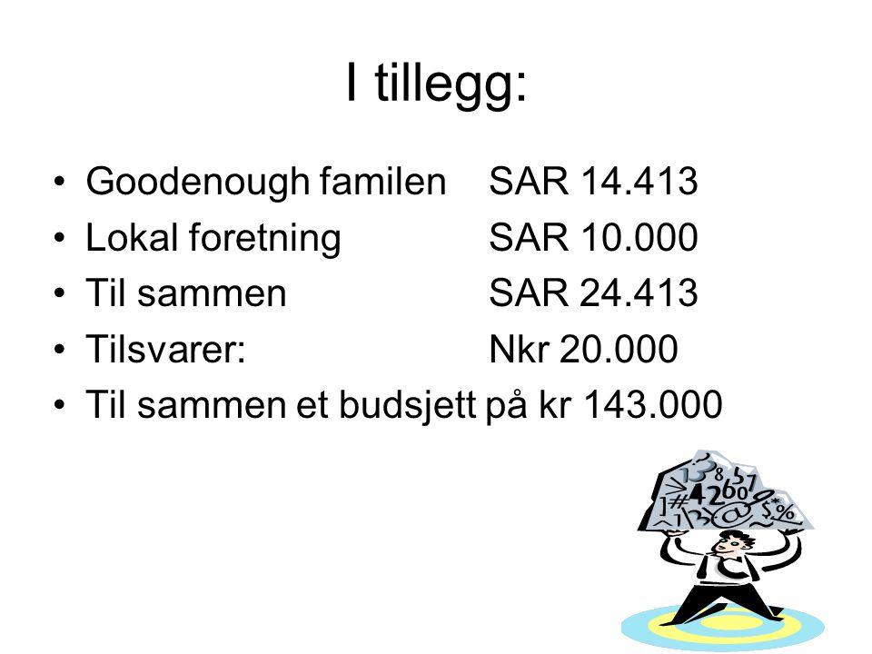 I tillegg: Goodenough familen SAR 14.413 Lokal foretningSAR 10.000 Til sammenSAR 24.413 Tilsvarer: Nkr 20.000 Til sammen et budsjett på kr 143.000