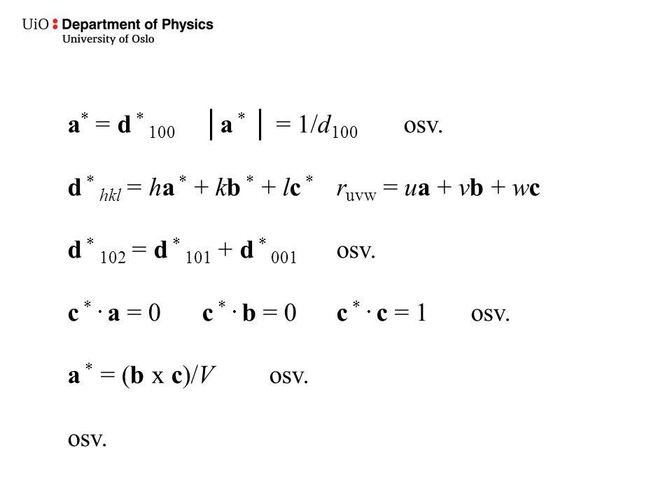 a * = d * 100 │a * │ = 1/d 100 osv. d * hkl = ha * + kb * + lc * r uvw = ua + vb + wc d * 102 = d * 101 + d * 001 osv. c *. a = 0c *. b = 0c *. c = 1o