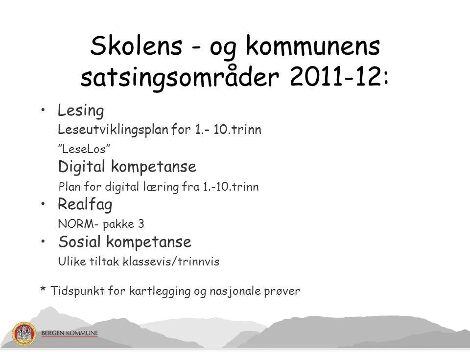 """Skolens - og kommunens satsingsområder 2011-12: Lesing Leseutviklingsplan for 1.- 10.trinn """"LeseLos"""" Digital kompetanse Plan for digital læring fra 1."""