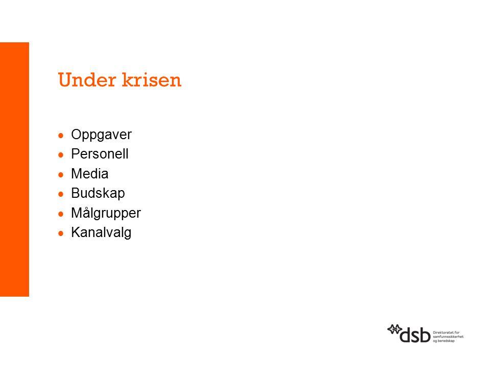 Under krisen  Oppgaver  Personell  Media  Budskap  Målgrupper  Kanalvalg