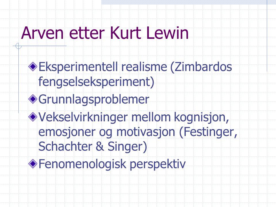 Arven etter Kurt Lewin Eksperimentell realisme (Zimbardos fengselseksperiment) Grunnlagsproblemer Vekselvirkninger mellom kognisjon, emosjoner og moti