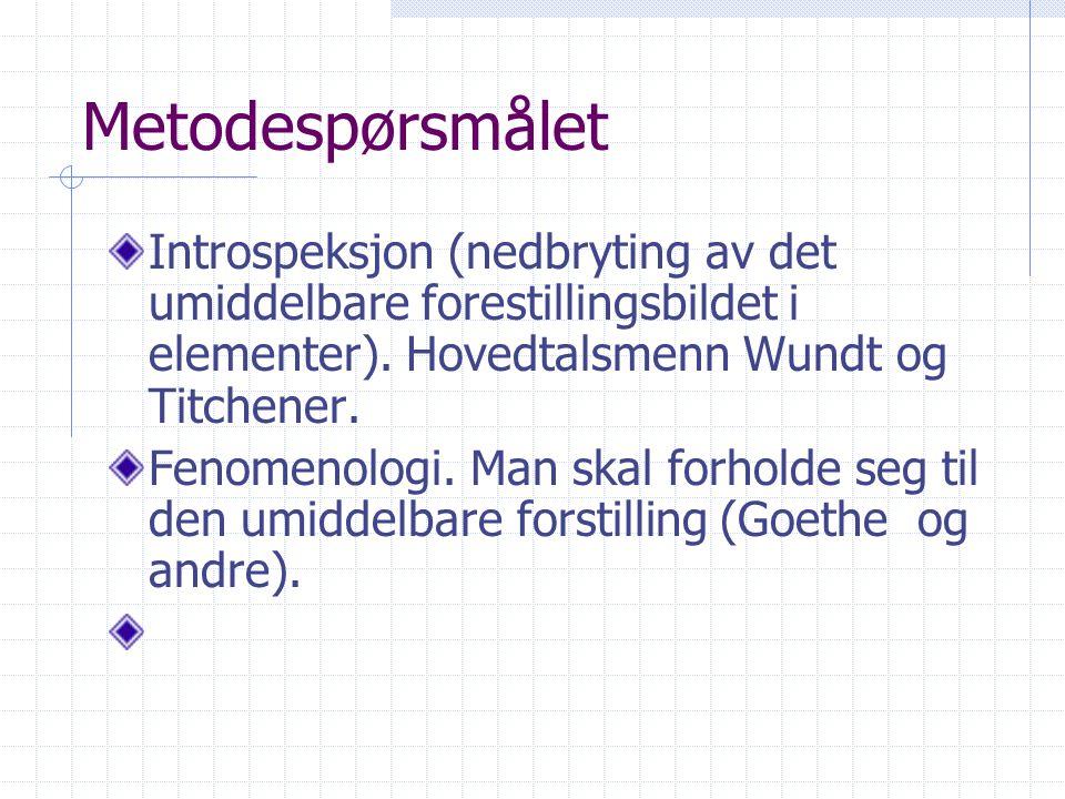 Metodespørsmålet Introspeksjon (nedbryting av det umiddelbare forestillingsbildet i elementer). Hovedtalsmenn Wundt og Titchener. Fenomenologi. Man sk
