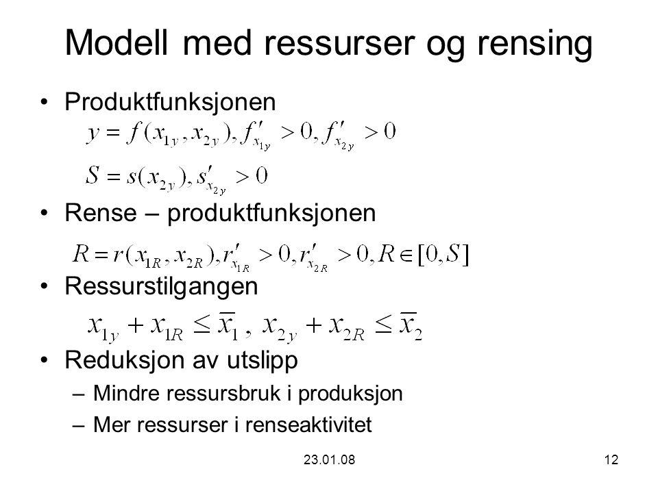 23.01.0812 Modell med ressurser og rensing Produktfunksjonen Rense – produktfunksjonen Ressurstilgangen Reduksjon av utslipp –Mindre ressursbruk i produksjon –Mer ressurser i renseaktivitet