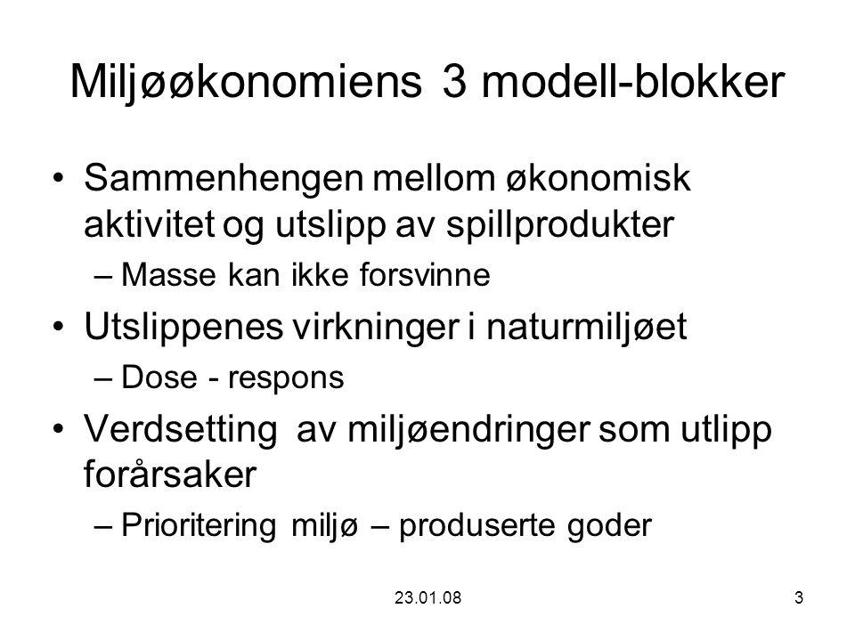 23.01.083 Miljøøkonomiens 3 modell-blokker Sammenhengen mellom økonomisk aktivitet og utslipp av spillprodukter –Masse kan ikke forsvinne Utslippenes