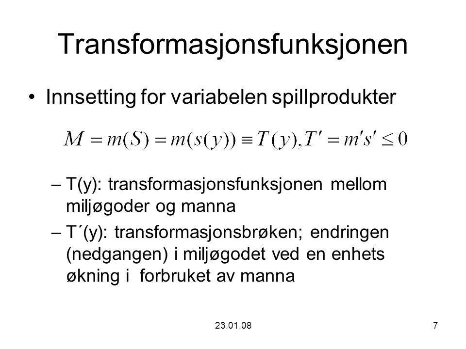 23.01.087 Transformasjonsfunksjonen Innsetting for variabelen spillprodukter –T(y): transformasjonsfunksjonen mellom miljøgoder og manna –T´(y): transformasjonsbrøken; endringen (nedgangen) i miljøgodet ved en enhets økning i forbruket av manna