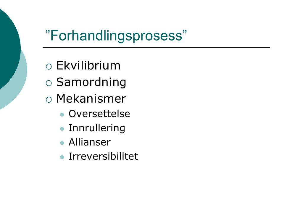 Forhandlingsprosess  Ekvilibrium  Samordning  Mekanismer Oversettelse Innrullering Allianser Irreversibilitet