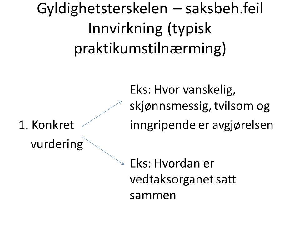 Gyldighetsterskelen – saksbeh.feil Innvirkning (typisk praktikumstilnærming) Eks: Hvor vanskelig, skjønnsmessig, tvilsom og 1. Konkret inngripende er