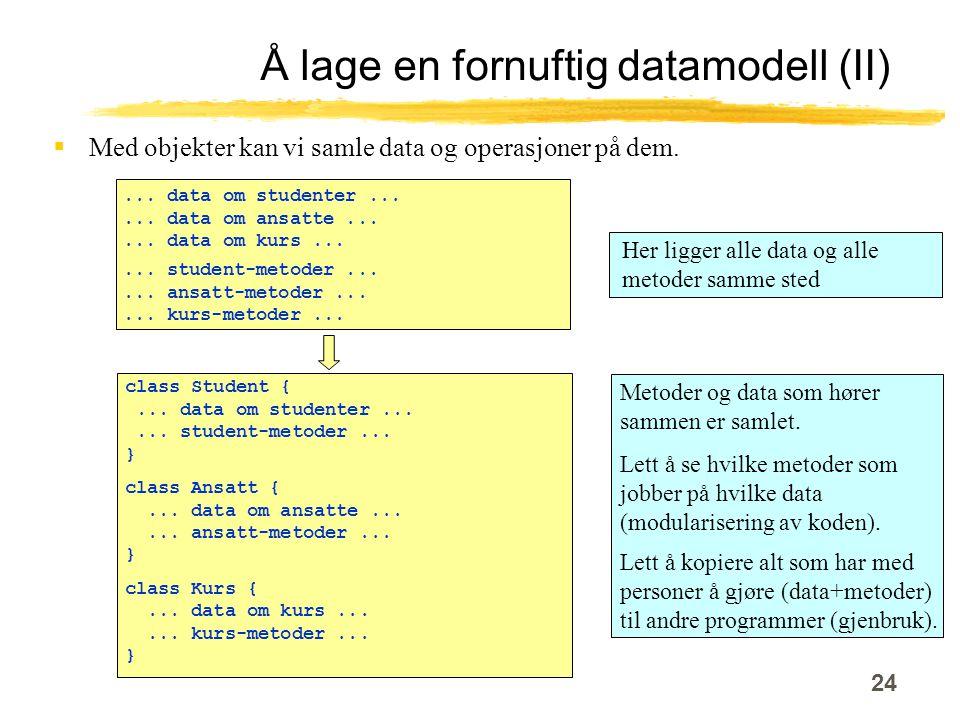 24 Å lage en fornuftig datamodell (II)  Med objekter kan vi samle data og operasjoner på dem.