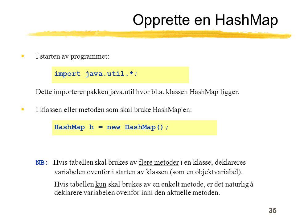 35 Opprette en HashMap  I starten av programmet: import java.util.*; Dette importerer pakken java.util hvor bl.a.
