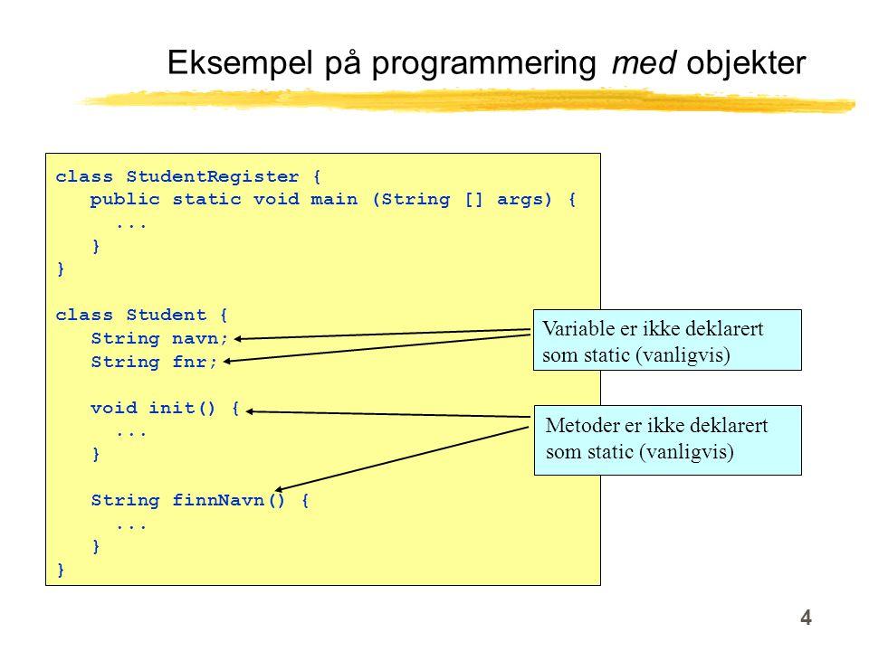 4 Eksempel på programmering med objekter class StudentRegister { public static void main (String [] args) {...